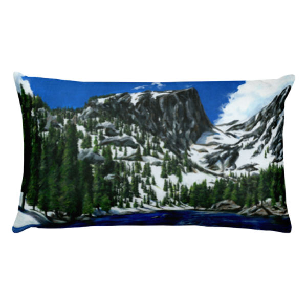 "Dream Lake original art painted by Mary Anne Hjelmfelt and printed onto a 20""x12"" pillow"