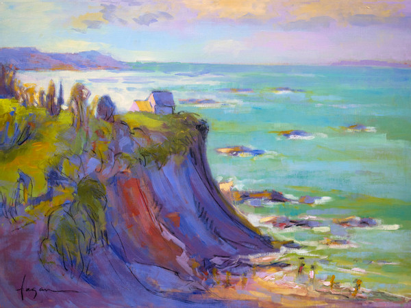 Stunning Emerald Coast French Landscape Painting Art Print on Canvas or Watercolor Paper by Dorothy Fagan