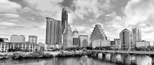 Black and White Photo of Skyline of Austin Texas from the Lake