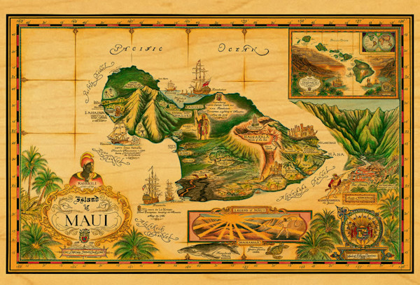 Map of Maui postcard