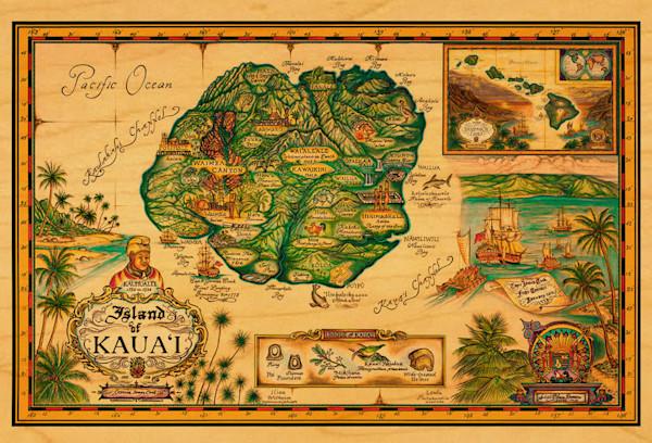 Map of Kauai postcard