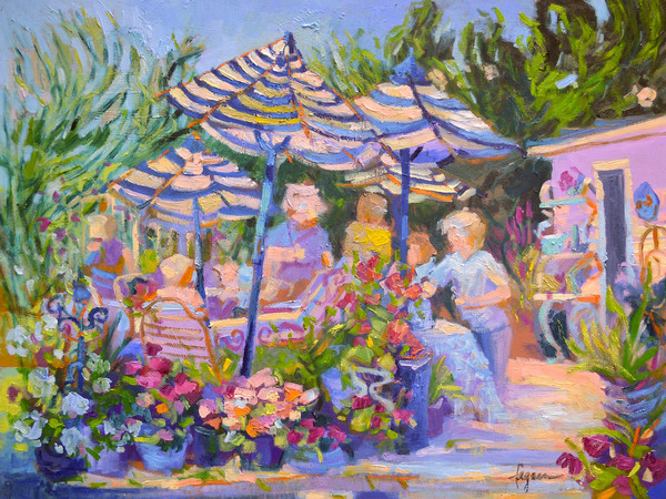 Colorful Garden Party Art Print on Canvas or Watercolor Paper, The Gathering by Dorothy Fagan
