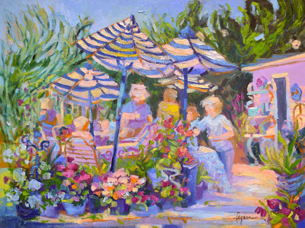 Colorful Garden Party Art, The Gathering, Original plein air Oil Painting by Dorothy Fagan