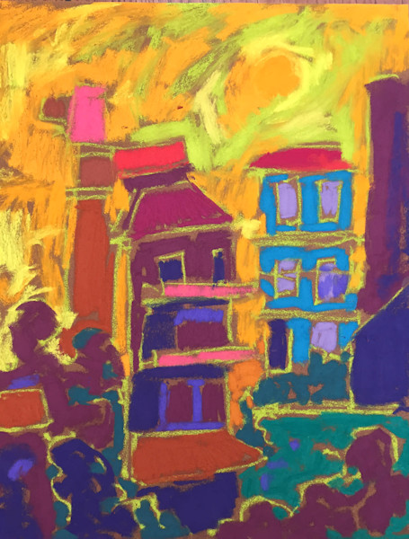 Colorful Abstract Cinque Terre, Italy Original Pastel Painting by Dorothy Fagan