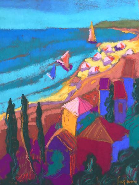 Colorful Cinque Terre, Italy Original Pastel Painting by Dorothy Fagan