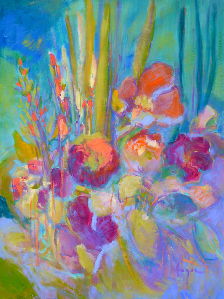 Colorful Abstract Floral Painting, Art Print on Canvas or Watercolor Paper, Something's Blooming  by Dorothy Fagan