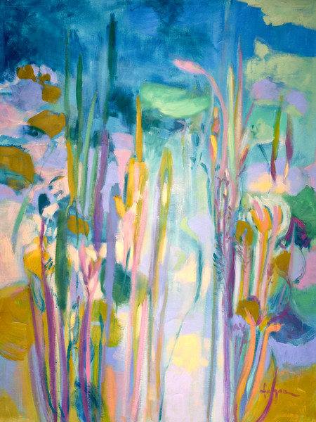 Abstract Water Lilies Floral Art Print on Canvas Painting A Pond of My Own by Dorothy Fagan