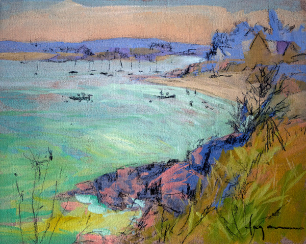 French Coastal Landscape Painting Print on Canvas or Paper,  Emerald Coast Art by Dorothy Fagan