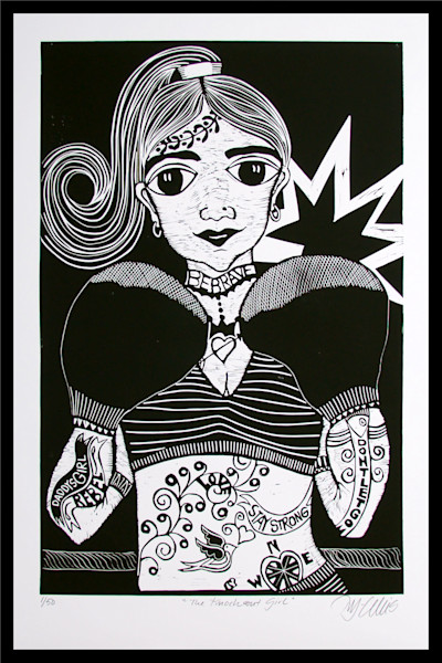 girl boxer with tattoos and boxing gloves, a black and white linocut by Printmaker Mariann Johansen-Ellis, art, paintings