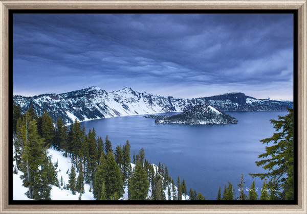 Crater Lake Winter Clouds (1810105LNND8) Photograph for Sale as Fine Art Framed Metal Print