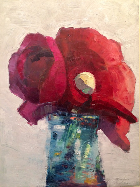 Beautiful floral still life oil painting on wood of red and pink ranunuculus flowers in a vintage bottle.