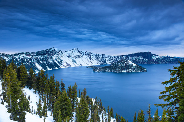 Crater Lake Winter Clouds (1810105LNND8) National Park Photograph for Sale as Fine Art Print