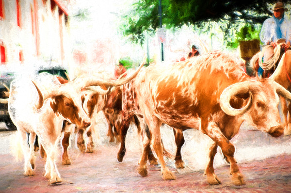 The Herd on the Move at Noon in the Stockyards Fine Art