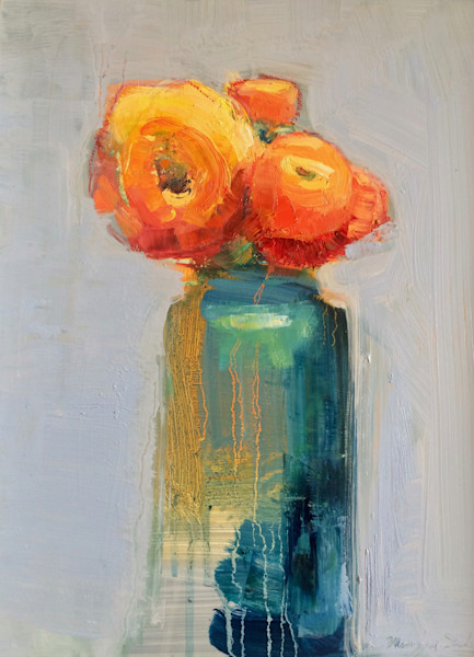 Still Life With Orange Ranunculus Flower Trio in Antique Blue  bottle oil painting  on wood