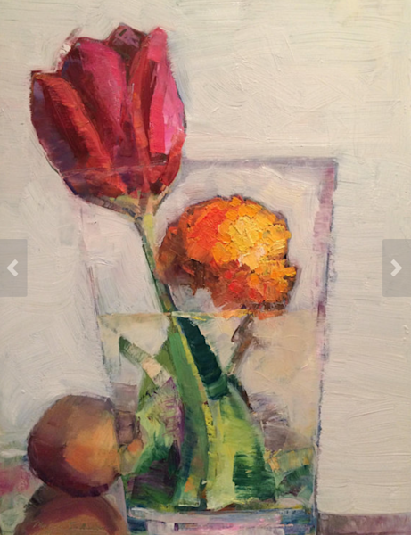 Still Life With Red Tulip Orange Ranunculus Flower and Guava oil painting  on wood
