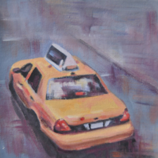 Yellow Taxi Cab from above Acrylic painting by Steph Fonteyn