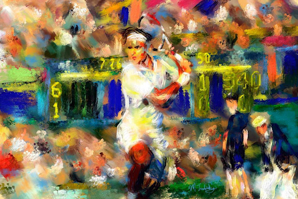 Painting of Roger Federer in action of returning serve.  Available as a limited edition art print for sale by artist Mark Trubisky