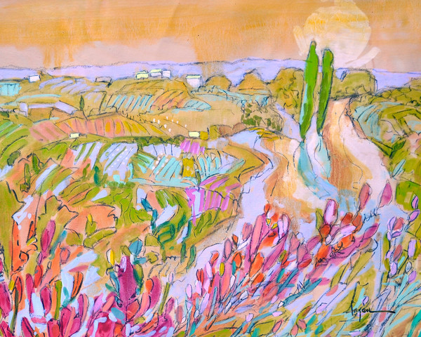 Whimsical Tuscany Landscape Garden Art Print on Canvas Magic Garden by Dorothy Fagan