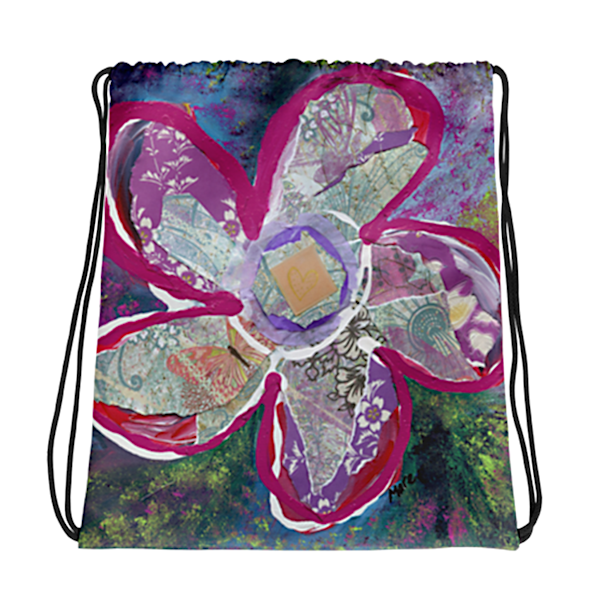 Unique drawstring bag with Mare's Art artwork printed on the material for a stylish look.