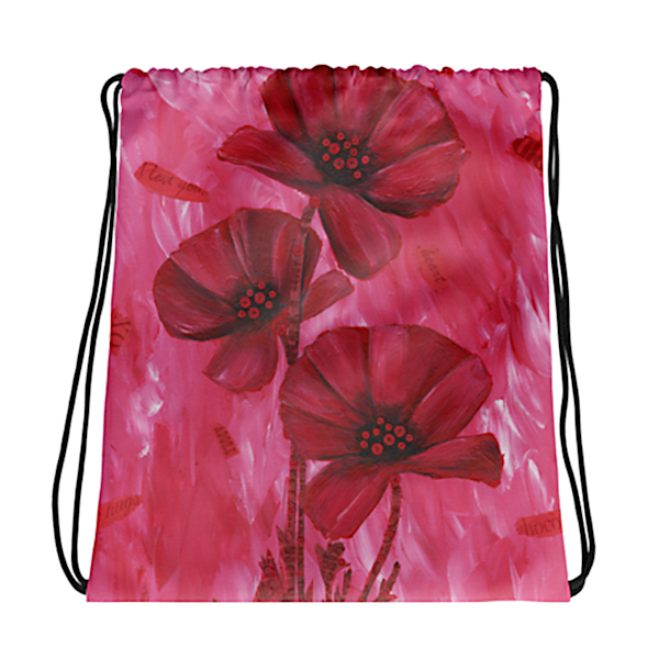 Poppy Love Drawstring Bag