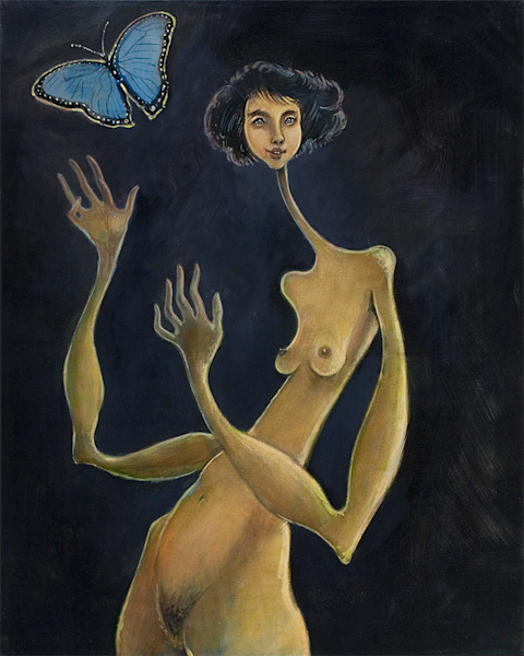 Girl With Butterfly Art | Sandy Garnett Studio
