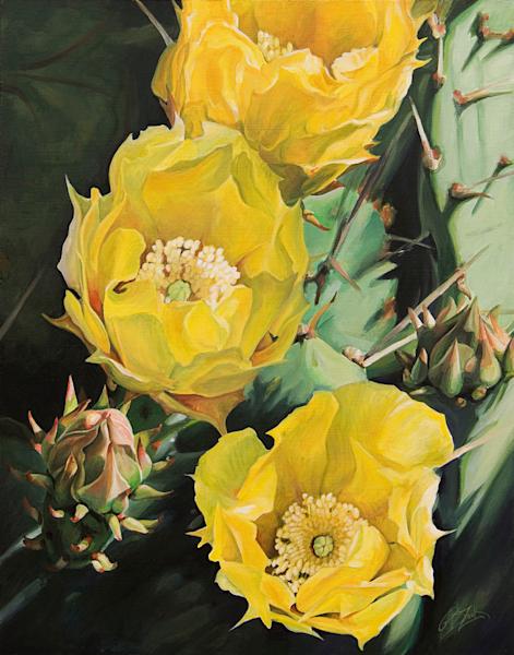 Prickly Pear Flower Trio Print
