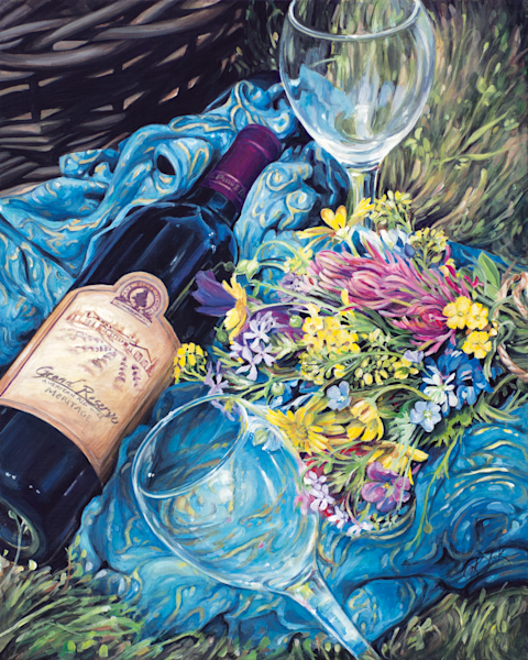Texas Wine and Wildflowers Print