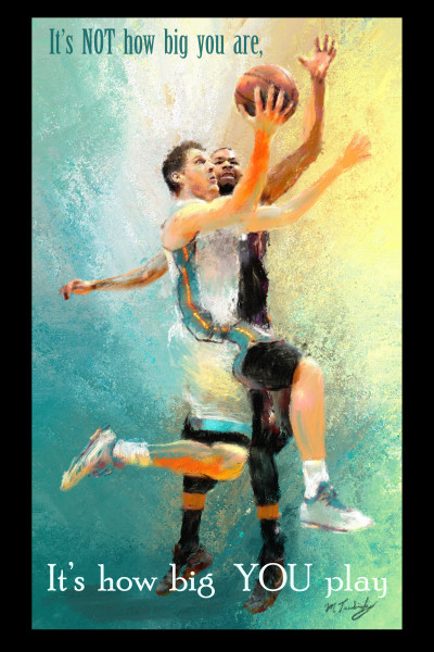 Poster of layup on basketball court   Sports artist Mark Trubisky   Custom Sports Art