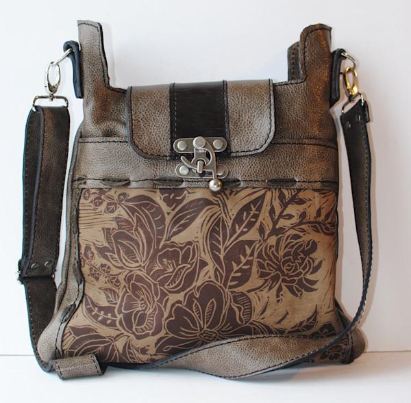medium leather cross body bag peony print