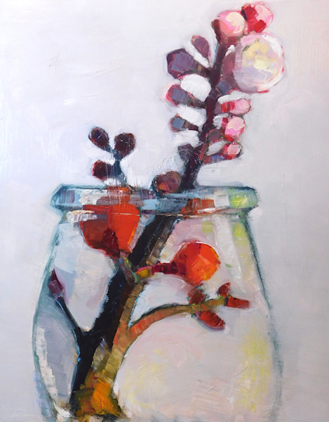 """Still life with red quince flowers apricot blooms. Oil painting on wood cradleboard 30""""x24""""x1.5"""". Unframed with painting extending around the sides."""