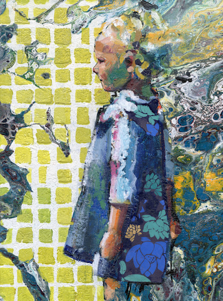 painting of a pensive girl in lycra shirt looking out over the water