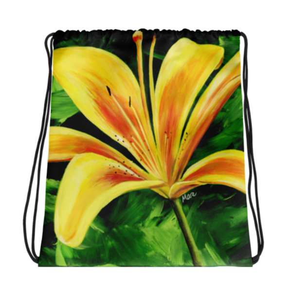 Colorful Drawstring Bags printed with Mare's Art artwork for a unique, stylish look.