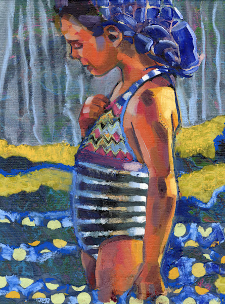 painting of a girl on the beach in a striped bathing suit