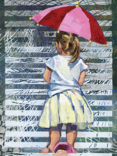 Painting of Girl with pink red umbrella