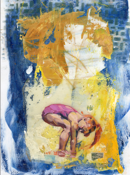 painting of a playing girl in the water against an abstract background