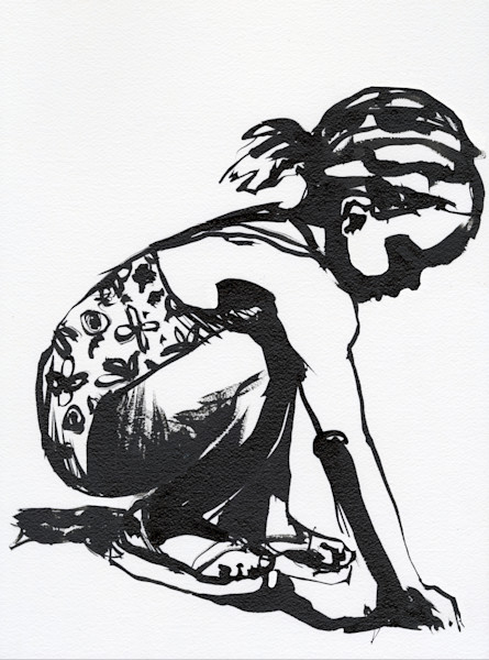 ink drawing of a caribbean girl playing with sand at the seaside