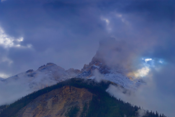 Cathedral Mtn.  shrouded with cloud. Banff National Park|Canadian Rockies|Rocky Mountains|