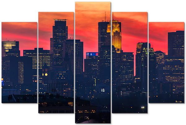 Minneapolis Sunset 3 - Minnesota Panel Art | William Drew