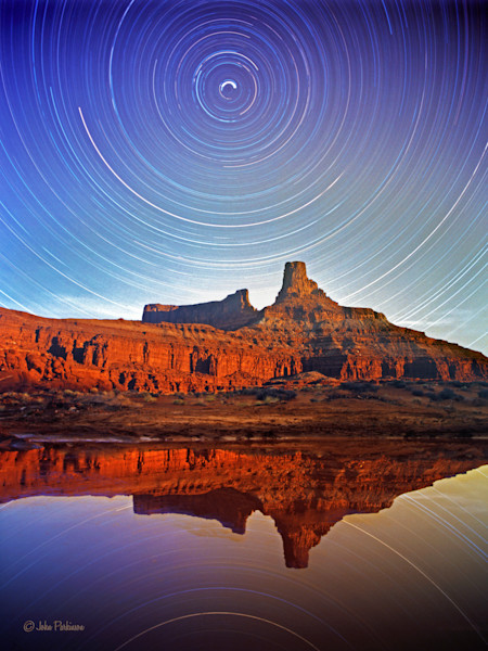 Reflecting Star Trails in Canyonlands National Park, Utah.