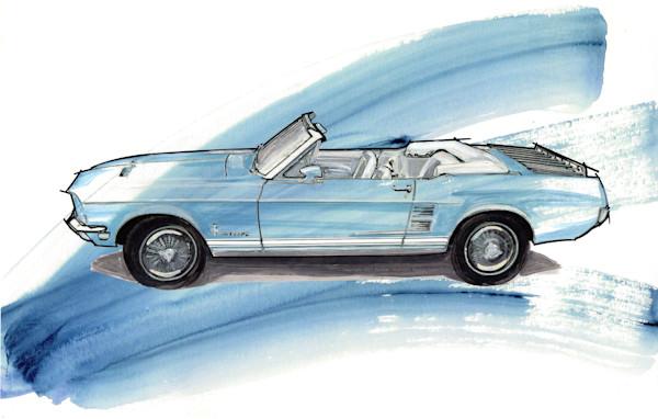 Convertible Mustang art, paintings drawings by Noelle Dumas,