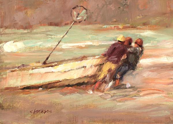 Original Painting Fishermen Pulling Boat Ashore