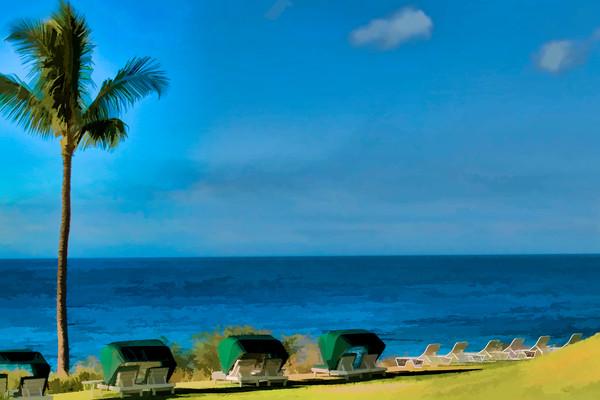 Green Beach Chairs on the Beach