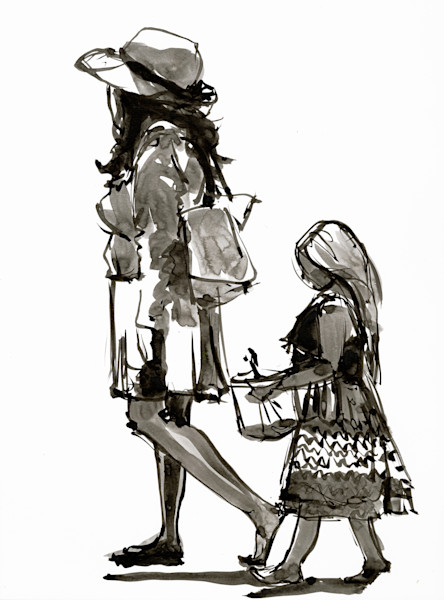 Ink drawing of a mother and daughter at the beach by berends