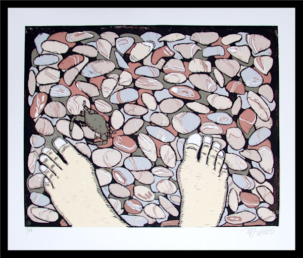 barefoot in the ocean, sunwarm pebbles and soft colors in this linocut reduction by printmaker Mariann Johansen-Ellis, art, paintings
