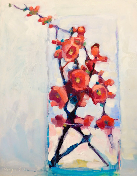 """Still life with red quince flowers. Oil painting on wood cradleboard 30""""x24""""x1.5"""". Unframed with painting extending around the sides."""
