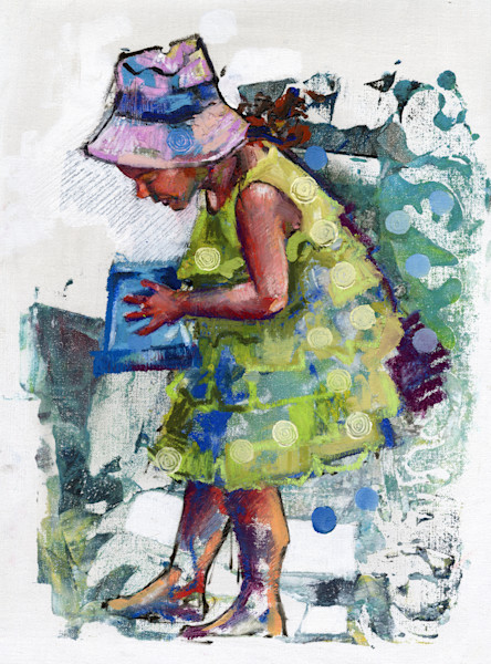 Girl with purple hat and green beach dress
