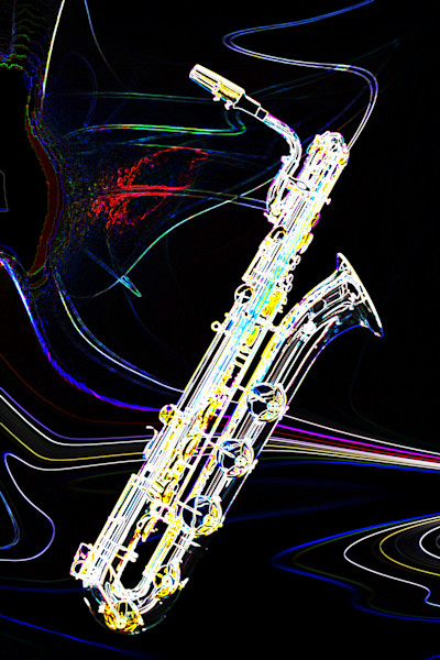 Dark Drawings of Saxophones Art Images