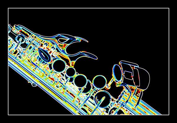 Dark Drawing Soprano Sax Music Art 3342.02