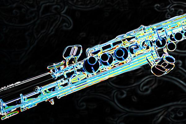 Classic Soprano Sax Wall Art Drawing. 3349.02