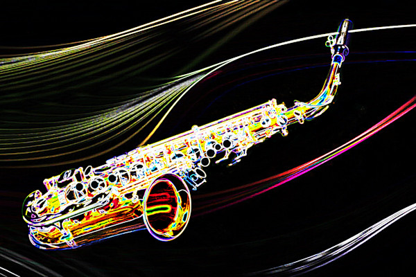 Metal Art Drawing Saxophone From Space 3251.02